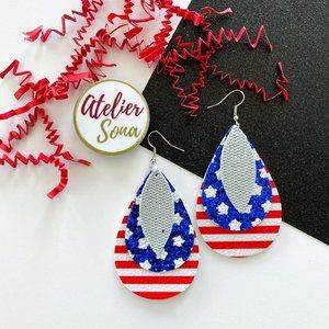 Sparkly American Tear Drop Earrings